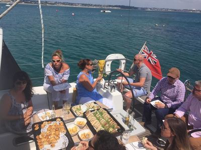 Buffet lunch served aboard on private charter in Jersey