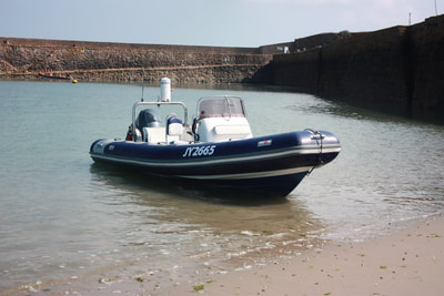 Avon RIB at St Aubins fort Jersey