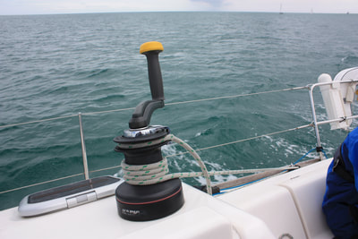 Genoa sheet on winch on Sailing Skills course